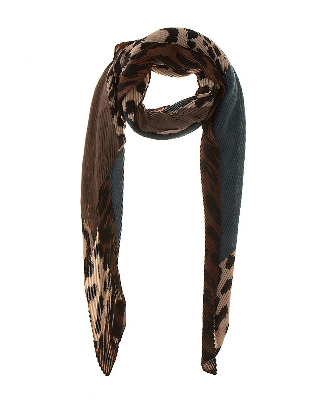 Плисиран шал с леопардов мотив