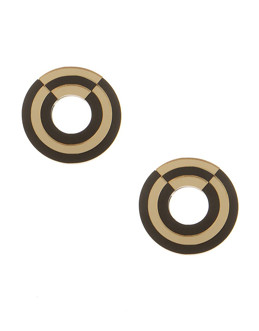 Round earrings with gold details.