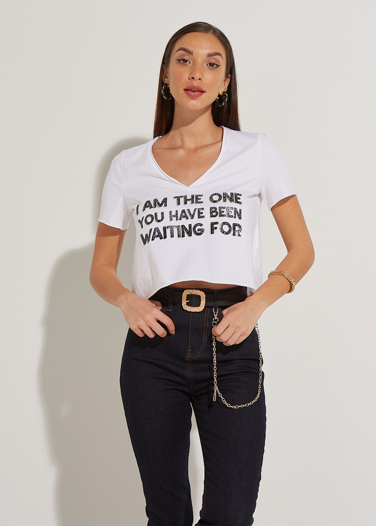 """Crop top with print """" I am the one """""""