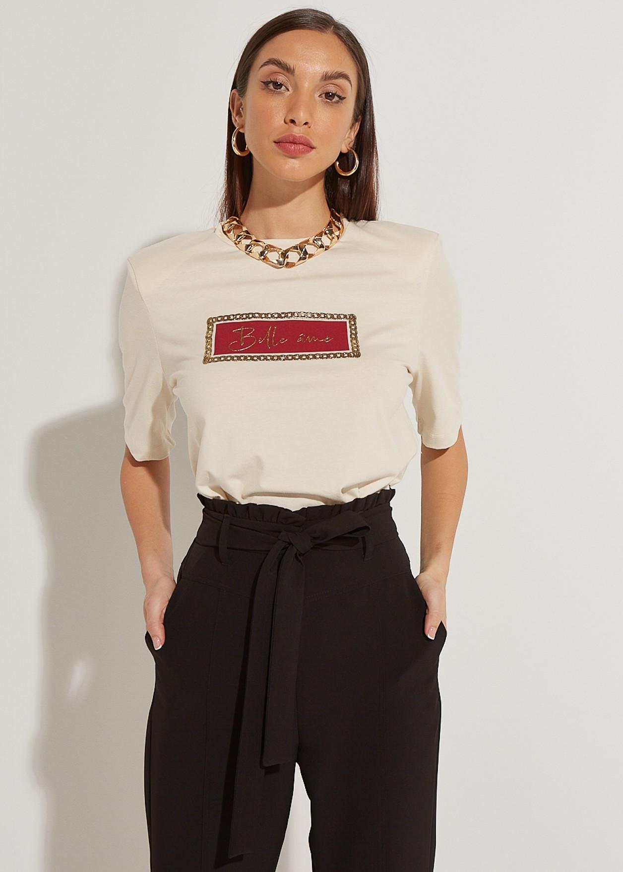 "Тениска с щампа "" belle ame"""