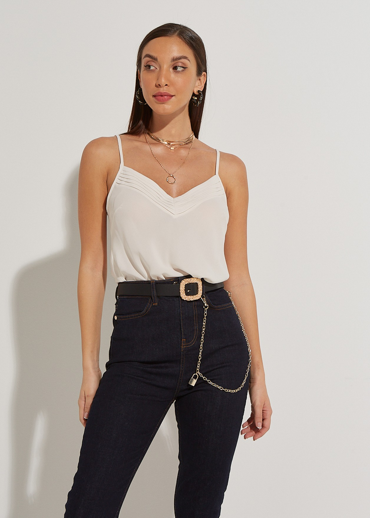 Lingerie pleated top