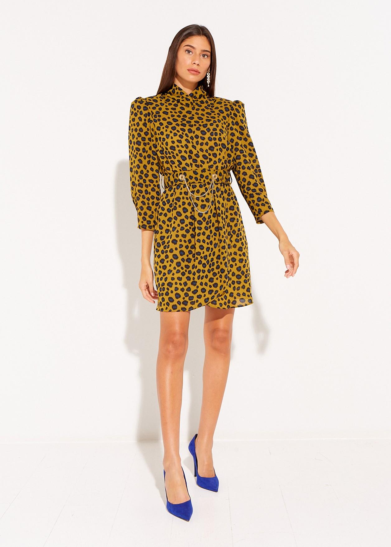 Animal print dress with shoulder pads