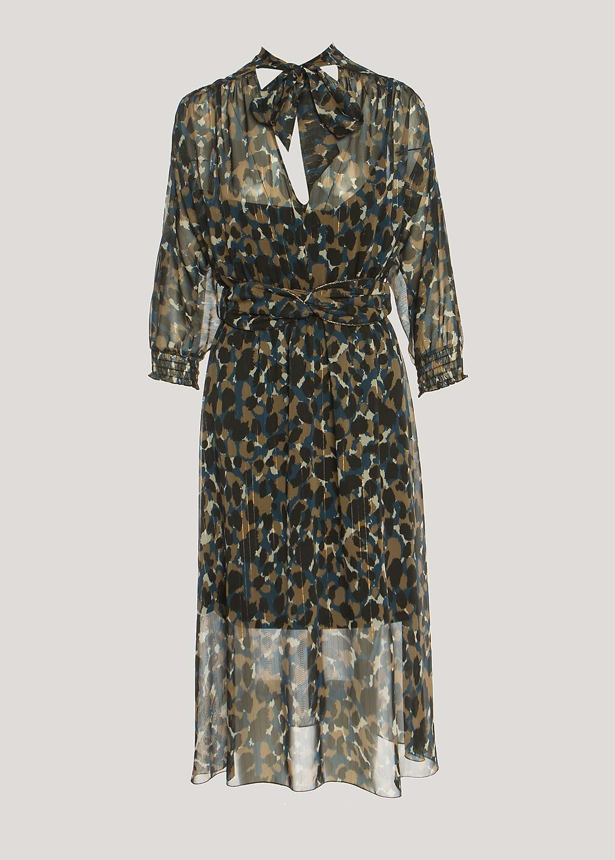 Animal print dress with knot detail
