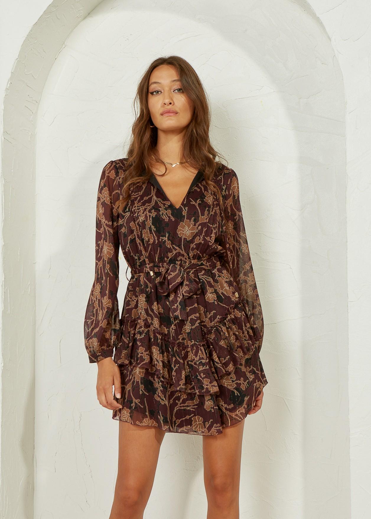 Ruffled dress with pleats