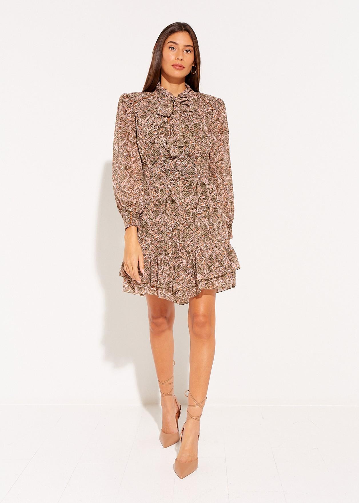 Mini dress with paisley print