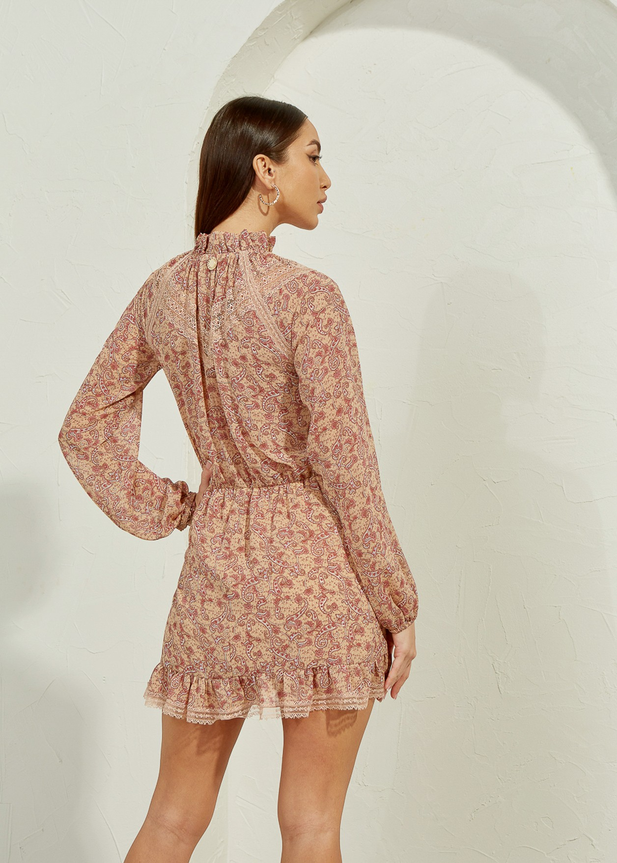 Dress with paisley print and lace detail