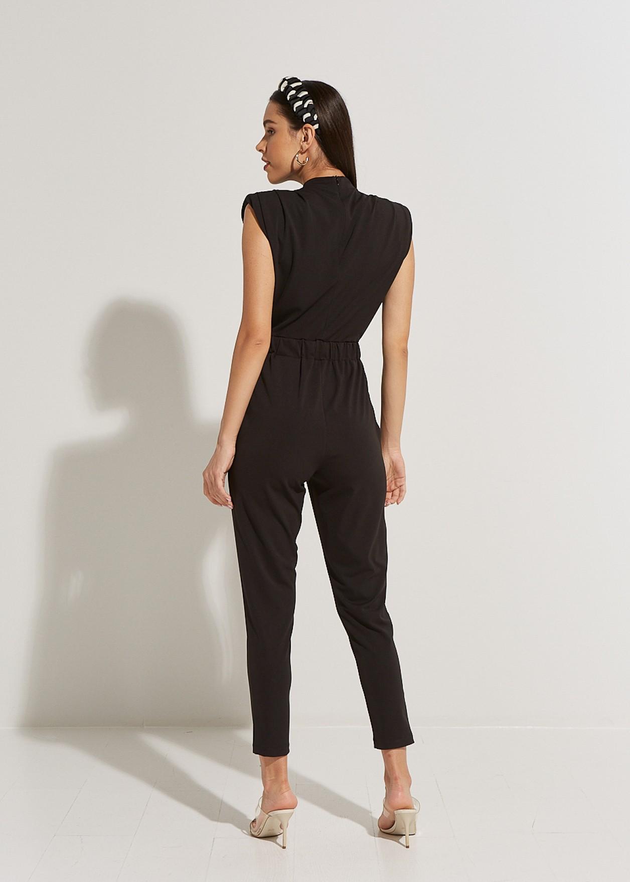 Jumpsuit with shoulder pads